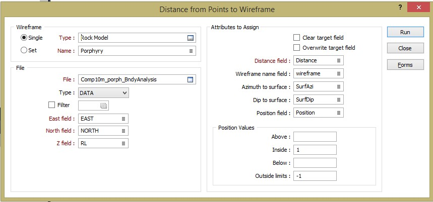Figure 8. The Distance to wireframes form allows you to flag your composites with distance to wireframe and the position of the point in 3D space with respect to the wireframe volume, use above and below if you are testing a DTM surface.