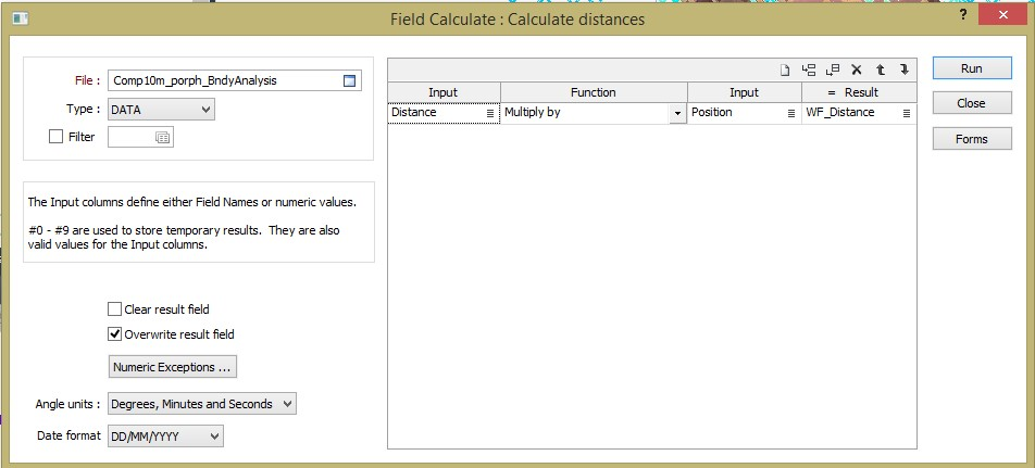 Figure 9. A simple field calculation gives us the positive and negative distances needed for the calculations.